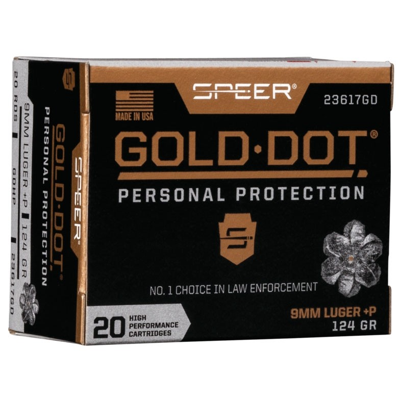 Speer Gold Dot Personal Protection 9mm Luger +P 20rd Ammo