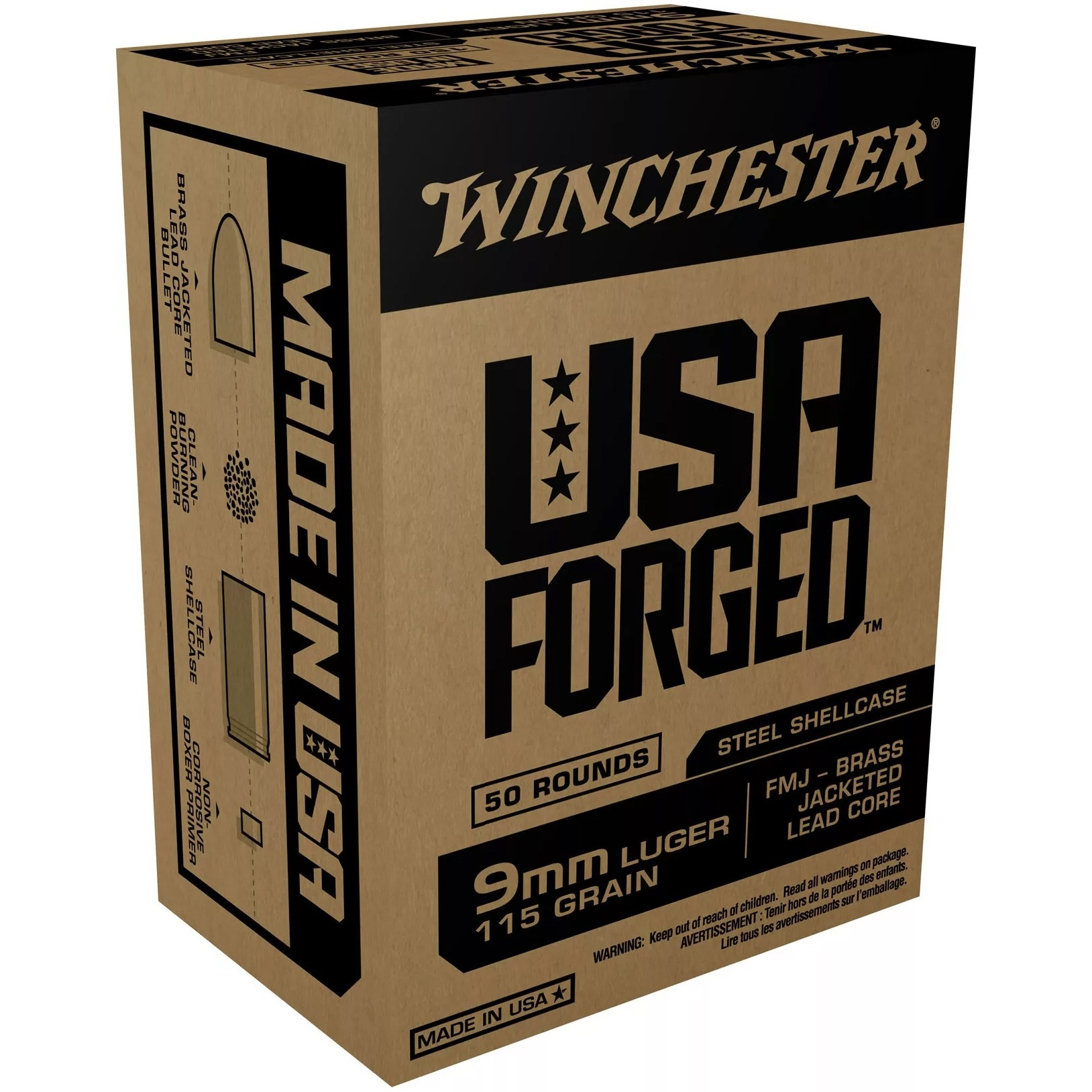 Winchester USA Forged 9mm Luger 50rd Ammo