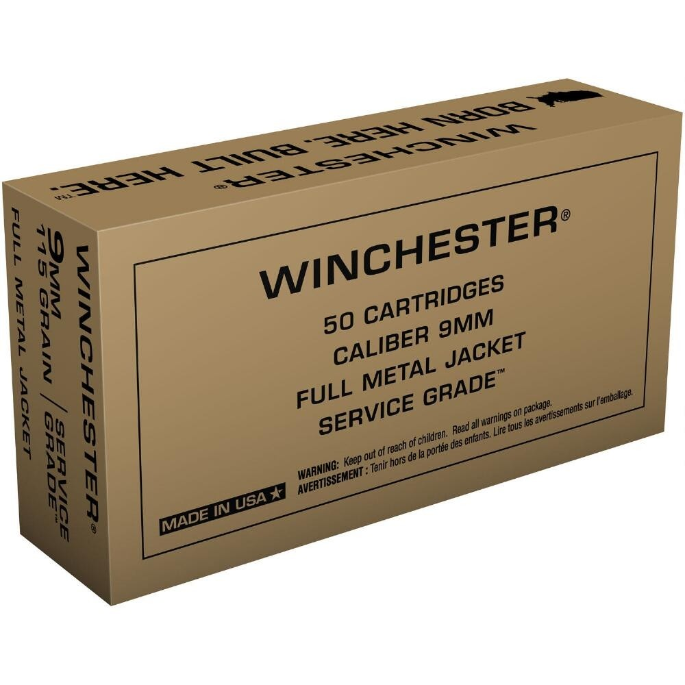 Winchester Service Grade 9mm Luger 50rd Ammo