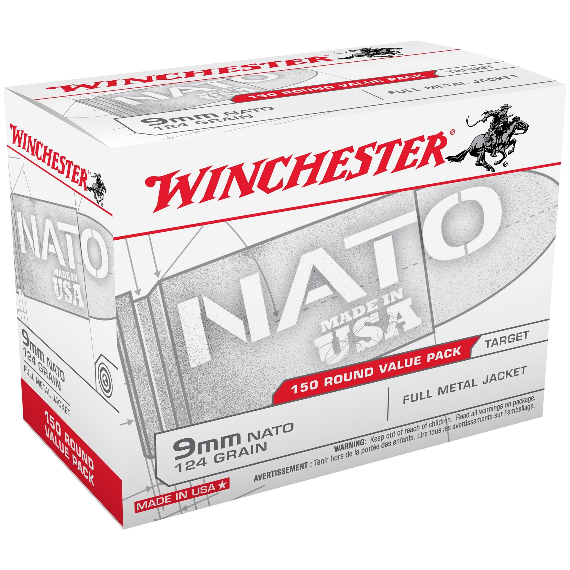 Winchester USA 9mm Luger 150rd Ammo