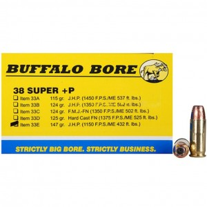 Buffalo Bore Handgun 38 Super 20rd Ammo