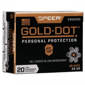 Speer Gold Dot Personal Protection 25 ACP 20rd Ammo