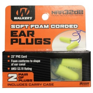Walker's 2 Pairs Corded Foam Plugs with Plastic Case