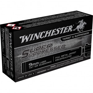 Winchester Super Suppressed 9mm Luger Subsonic 50rd Ammo